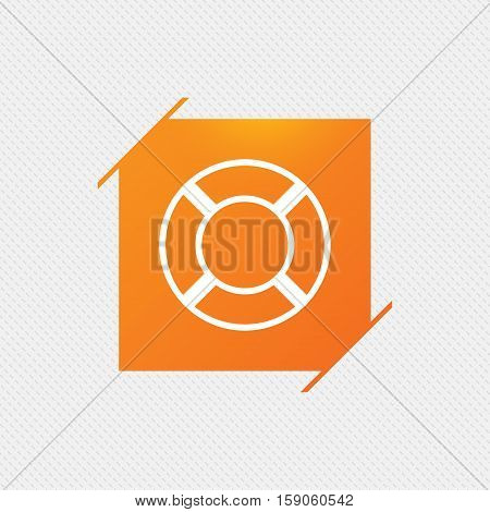 Lifebuoy sign icon. Life salvation symbol. Orange square label on pattern. Vector