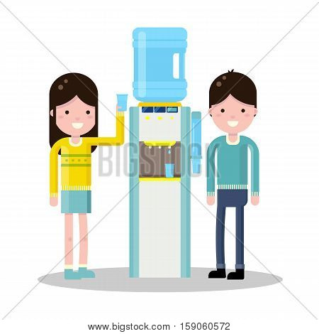 Vector flat illustration with water cooler and bottle. Modern template illustration.