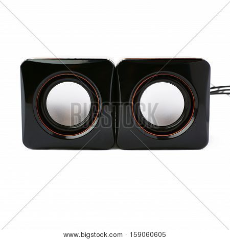 Pair of black glossy sound speakers isolated over the white background