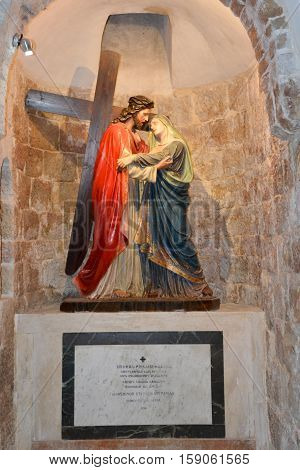 JERUSALEM ISRAEL 27 10 16: Stations of the cross IV Jesus meets his mother Via Dolorosa is a street within the Old City of Jerusalem held to be the path that Jesus walked on the way to his crucifixion
