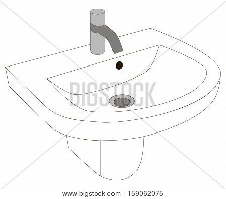 Vector illustration of the traditional white washbasin