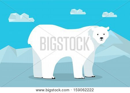 Funny polar bear on background of arctic glacier. Polar bear walking on ice. Animal adorable polar bear vector character. Charming polar bear. Wildlife character