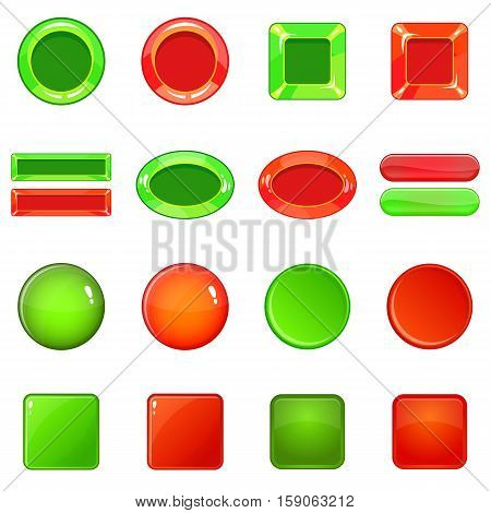 Blank web buttons icons set. Cartoon illustration of 16 blank buttons vector icons for web