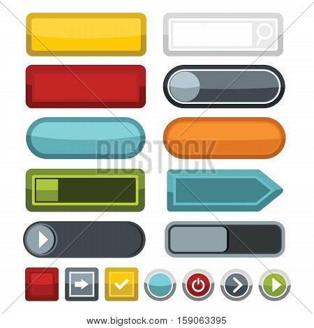 Blank color web buttons icons set. Flat illustration of 16 blank color buttons vector icons for web