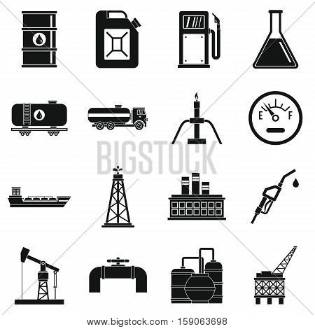 Oil industry items icons set. Simple illustration of 16 Oil industry items vector icons for web
