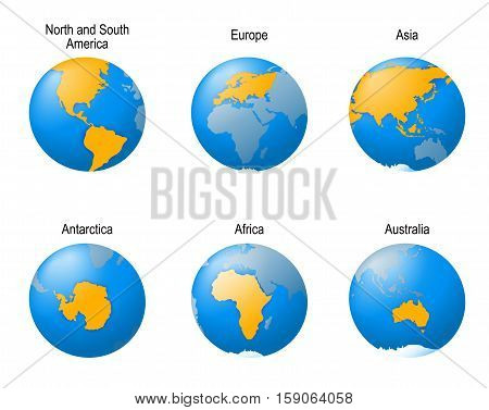 Earth globes set. showing all continents. illustration of planet viewed from 6 different angles.