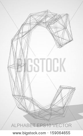 Abstract illustration of a Pencil sketched uppercase letter C with Transparent Shadow. Hand drawn 3D C for your design. EPS 10 vector illustration.