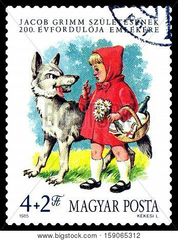 STAVROPOL RUSSIA - November 30 2016: A stamp printed in Hungary shows Little Red Riding Hood by the Brothers Grimm circa 1985