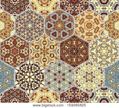 Bright seamless pattern tiles. Colorful vector set of hexagonal elements for design of wallpaper, fabric or wrapping paper.