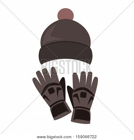 Hat and gloves winter season warm clothes. winter hat and gloves on wooden background. Warm hat and comfortable gloves fashion accessory christmas set. Holiday woolen cap design clothing vector.