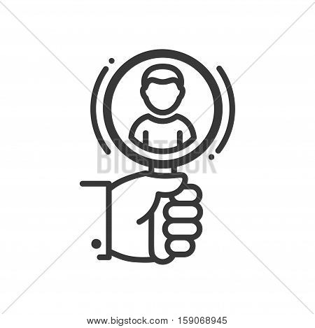 Recruiting - vector line design single isolated icon, pictogram. Hand holding magnifying glass and person in it