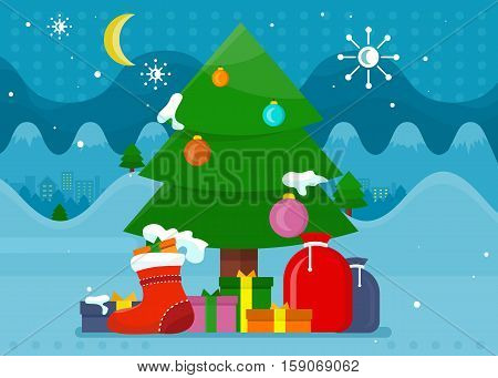 Winter holidays concept vector. Flat design. Christmas tree decorated colored toys and covered snow, gift boxes in the foreground. Christmas and New Year celebrating. For greeting cards design