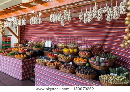 Fresh exotic fruits in Mercado Dos Lavradores. Funchal Madeira Portugal