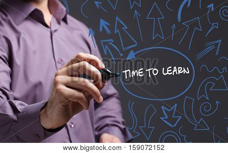 Technology, Internet, Business And Marketing. Young Business Man Writing Word: Time To Learn
