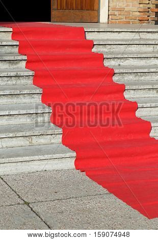 Long Red Carpet On The Wide Steps Of Historic Building