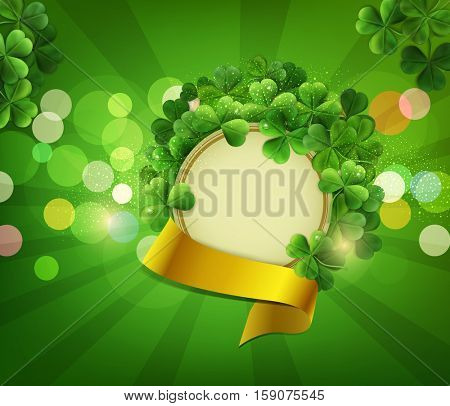 Vintage circle with space for text in a frame of shamrocks with gold ribbon, on a green background, the holiday sv.Patrika