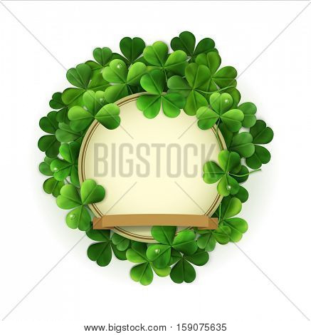 vintage circle with space for text in a frame of shamrocks. on a white background (element for design) for the holiday st. Patrick