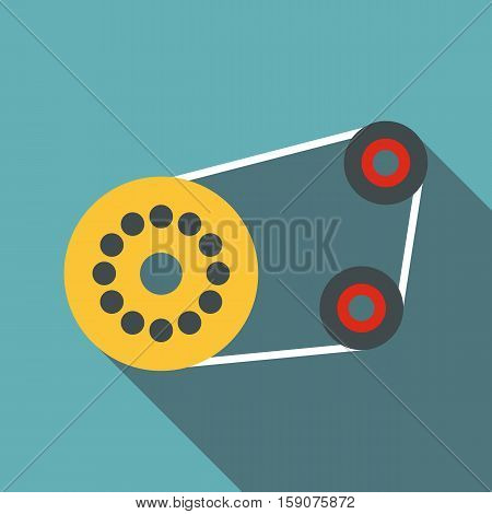 Timing belt icon. Flat illustration of tming belt vector icon for web design