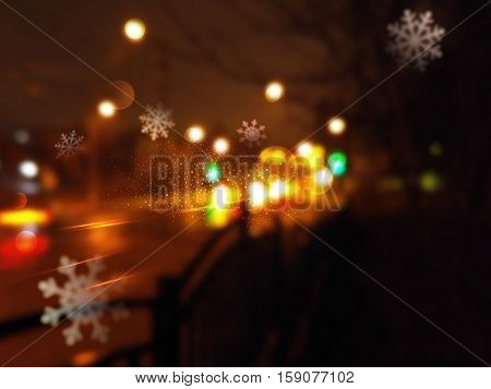 Christmas background with night city and flying snowflakes