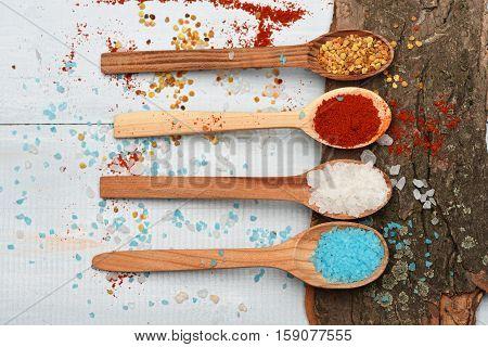 Set Of Ingredients For Cooking On Vintage Background