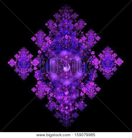 Abstract Crystal Purple Mechanism On Black Background. Fractal Art. 3D Rendering.