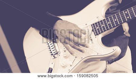 Man Playing A Electric Guitar