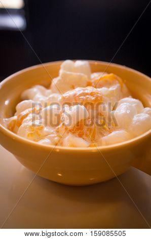 Creamy ambrosia salad with marshmallows pineapple and mandarin oranges