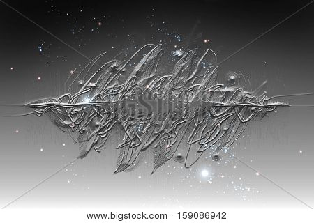 Black and white soundwave 3D illustration abstract background