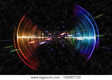 Visual neon soundwave concept 3D illustration abstract background