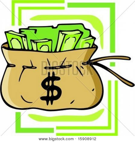 Bag with dollars.Vector illustration