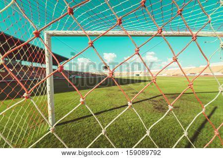 Soccer Net  At Soccer Stadium , Vintage