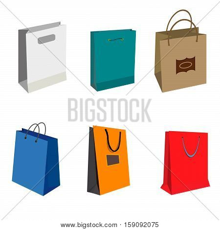Set of Colorful Empty Shopping Bags Isolated vector set. Shopping bags fashion design store merchandise handle package. Colorful paper gift handle package shop market shopping bags.