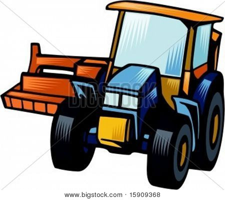 Row crop cultivator.Vector illustration