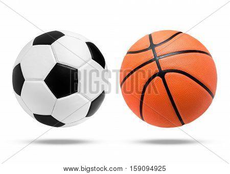 Soccer Ball And Basketball Ball On Isolated.