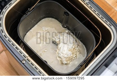 Prepare dough in bread maker. Home baked bread