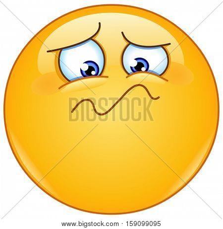 Yellow ball feeling unwell, sad, shaken or horrified