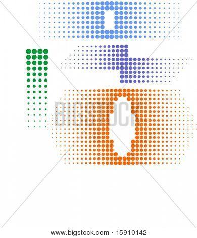 Halbton (Dot Gain) Design-Elemente. (Vector) Farben mit einem Mausklick ändern. sehr sauber, nicht overlappin