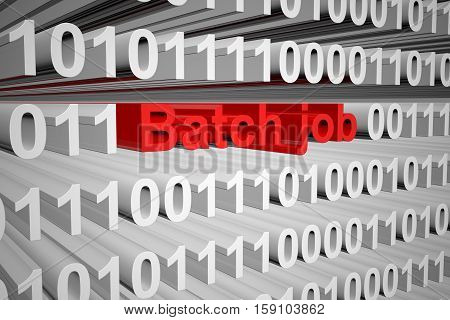 batch job in the form of binary code, 3D illustration