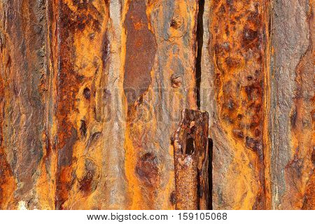 Background of old distressed iron panels covered in rust