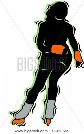 Speed skater.Pantone colors.Vector illustration