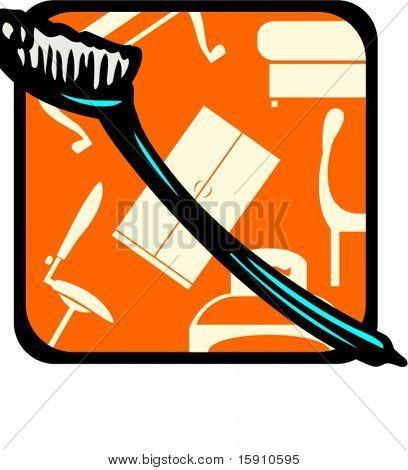 Toothbrush.Pantone colors.Vector illustration