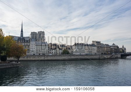 The Ile de la Cite (Cite Island) is one of two remaining natural islands in the Seine within the city of Paris France