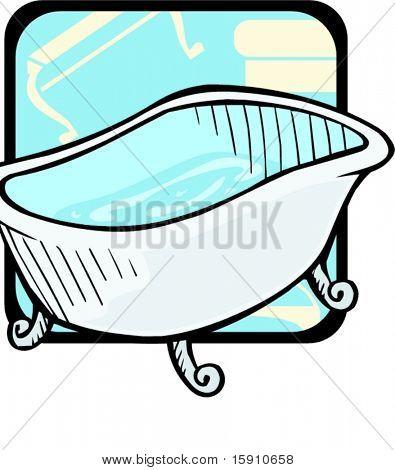 Luxurious bathtub.Pantone colors.Vector illustration