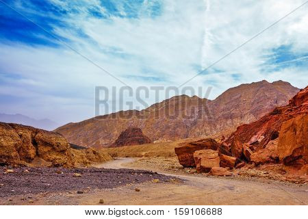 Mountains of Eilat, Israel. Gorgeous warm day in January. The road to the