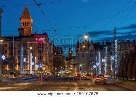 NORRKOPING, SWEDEN - DECEMBER 20, 2013: Christmas atmosphere in the city center of Norrkoping.  Norrkoping is a historic industrial town in Sweden