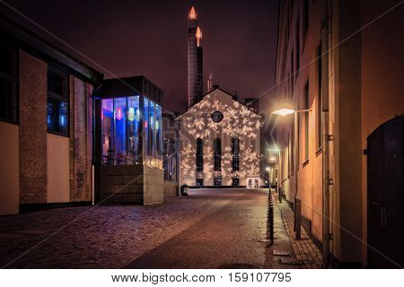 NORRKOPING, SWEDEN - DECEMBER 29, 2013: Christmas atmosphere in the unique industrial landscape in Norrkoping.  Norrkoping is a historic industrial town in Sweden