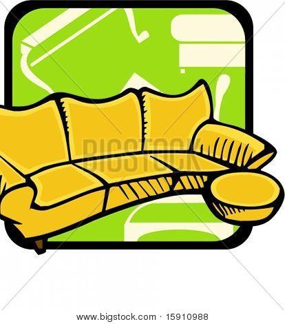 Sofa and stool.Pantone colors.Vector illustration