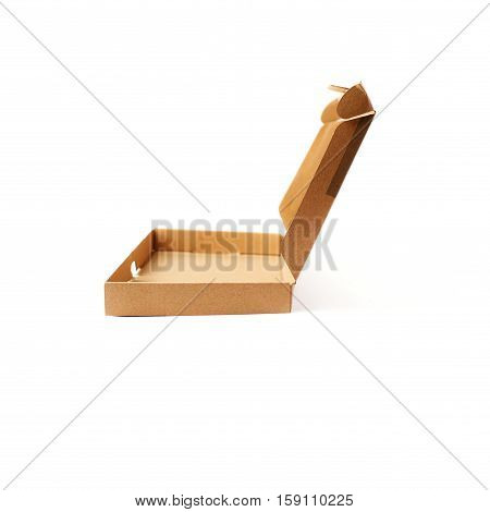 Opened long narrow cardboard box isolated over white background