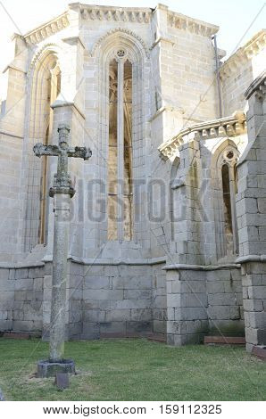 Stone cross in ruins of convent of Saint Domingo in Pontevedra Spain