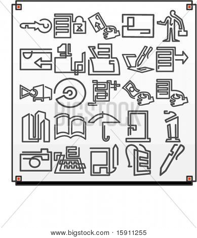 A set of 25 vector icons of business objects, where each icon is drawn with a single meandering line.
